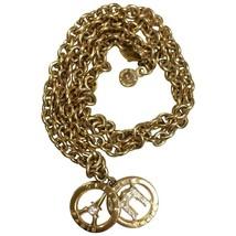 Vintage CELINE golden Eiffel tower and Triumphal arch pendant top chain necklace - $210.00