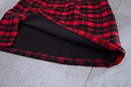 Red and Black Plaid Skirt Slit Plaid Mini Skirt High Waisted Warm Plaid Skirt image 2