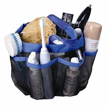 Dorm Shower Caddy Mesh Blue 8 Pockets Portable Tote Bag Quick Dry Bath O... - $12.92
