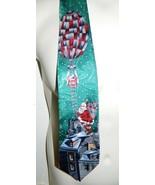 VTG Christmas Santa Claus Hot Air Balloon Hand Made Men's Neck Tie 100% ... - $19.79