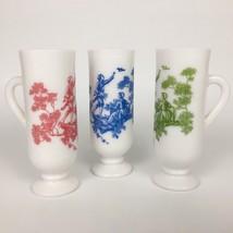 Avon Toile Demi Espresso Mugs Set of 3 White Milk Glass Footed Pedestal ... - $14.20