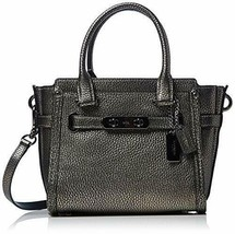 NWT Coach Pebbled Leather Swagger 21 Handbag, Silver/Black - $162.86