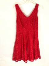 Express Dress Sz 4 Red Lace Overlay Skater Slip Fit flare RED Holiday Party NEW - $20.76