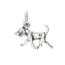 NEW STERLING SILVER 925 TINY LIGHTWEIGHT AMERICAN FOXHOUND DOG CHARM/PEN... - $9.49