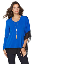 Colleen Lopez One-Sleeve Draped Top with Mesh Trim in Blue/Black, S - $25.73