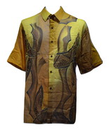 "Brown Handpainted Batik Tulis Mens Shirt XXL 2XL 18.5"" Artisan Tie Dye Malaysia - $56.99"