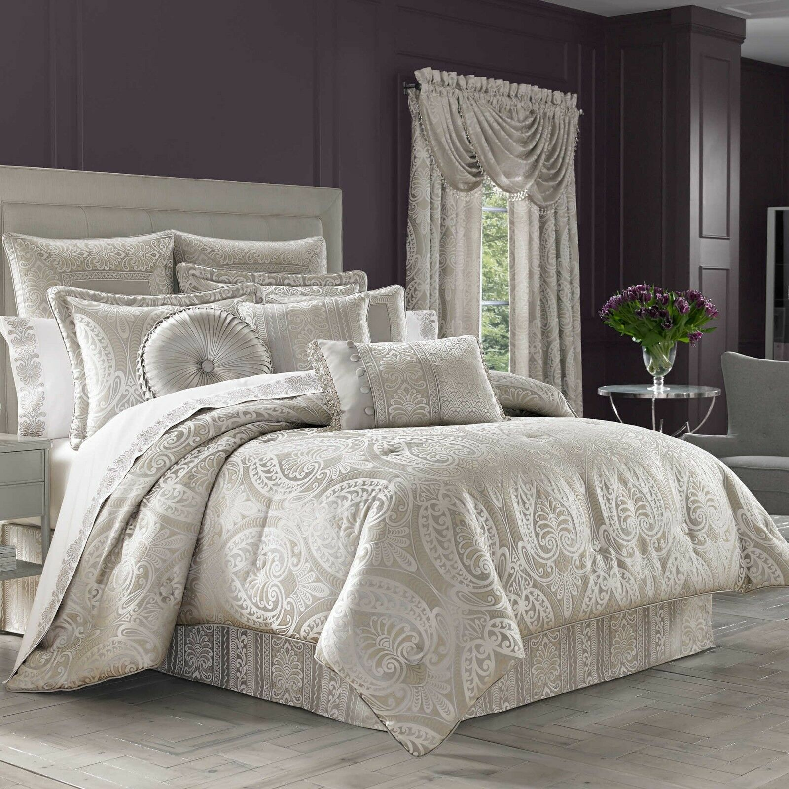 New J. Queen New York Le Blanc 11 Piece Queen Comforter Set Silver Color - $653.39