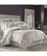 New J. Queen New York Le Blanc 11 Piece Queen Comforter Set Silver Color