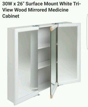 "30W x 26"" Surface Mount White Tri-View Wood Mirrored Medicine Cabinet - $97.88"
