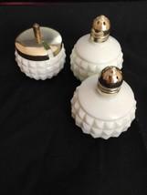 Vintage 1940's Miniature White Milk Glass Hobnail Salt Pepper Shakers Su... - $19.95