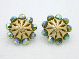 VTG RARE CROWN TRIFARI Gold Tone Green Aurora Borealis Crystal Clip Earr... - $49.50