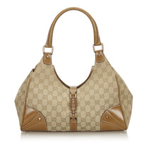 Pre-Loved Gucci Brown Beige Canvas Fabric GG Nailhead Jackie Shoulder Ba... - $368.39