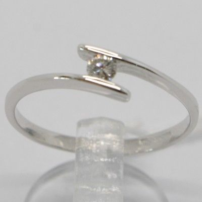 WHITE GOLD RING 750 18K, SOLITAIRE WITH DIAMOND CARAT 0.08, RAIL, ITALY
