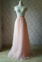 Women Blush Tulle Skirt Full Long Tulle Skirt, Blush Pink, High Waisted, Wedding