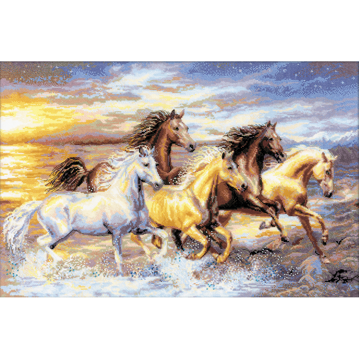 """RIOLIS Counted Cross Stitch Kit 23.5""""X15.75""""-In The Sunset (14 Count) - $74.00"""