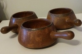 Vintage/Antique McCoy Pottery Soup/Chili Bowls W/Handles Brown Set Of 3 ... - $24.75