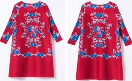 New spring red color with blue floral printing skirt overroll shift dress - $75.50