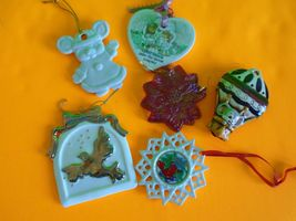 Lot of 6 Ceramic Glass Christmas Ornaments Snowflake Flower Dove Mouse F... - $14.99