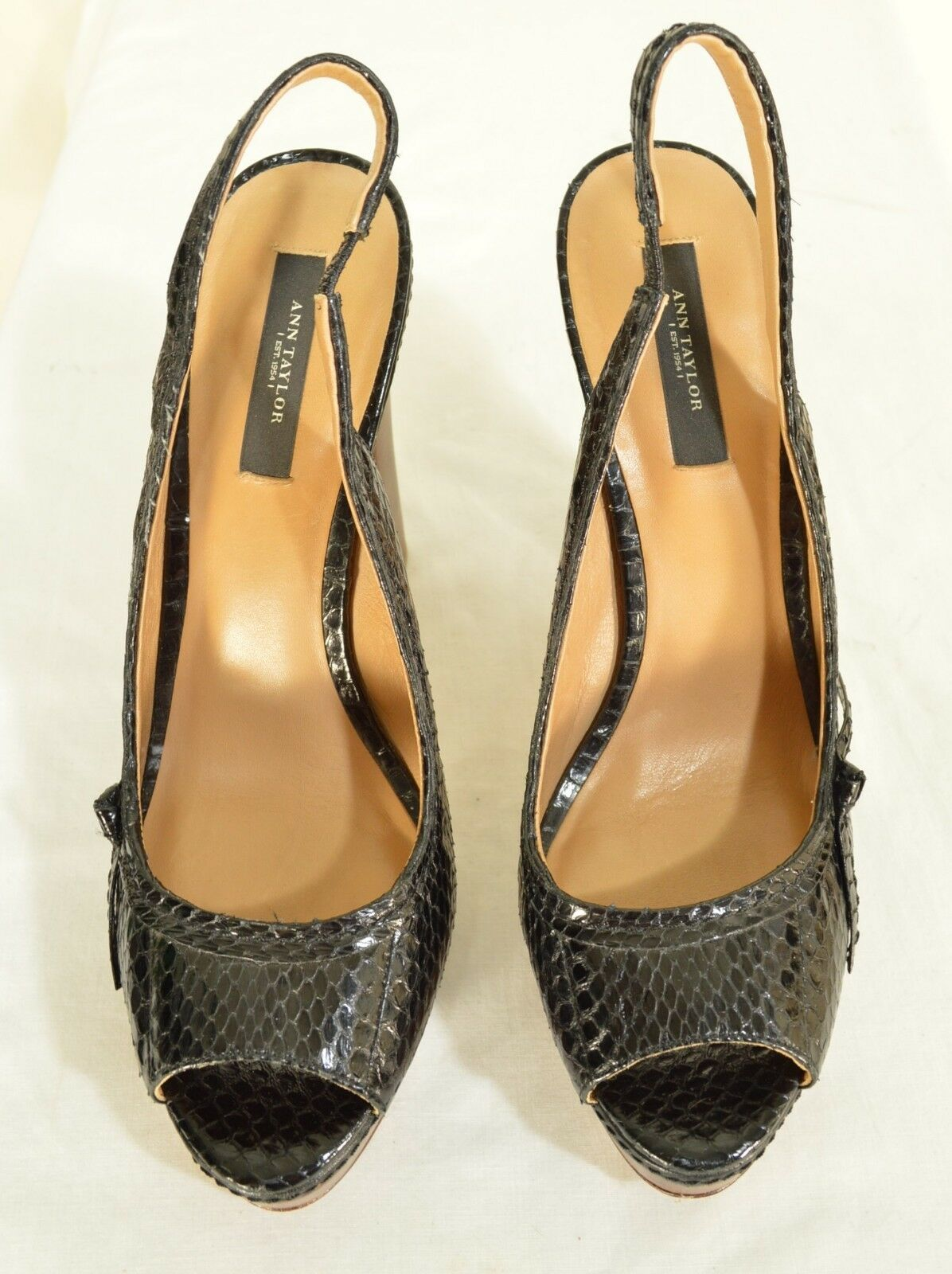 Ann Taylor shoes heels 9M platform black leather snakeskin high chic career image 11