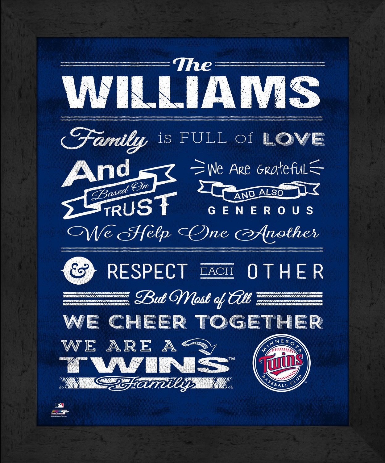 "Primary image for Minnesota Twins ""Family Cheer"" 13 x 16 Framed Print"