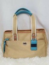 COACH Hampton Gold Satin D Blue Leather Small Tote F11992 - $35.52
