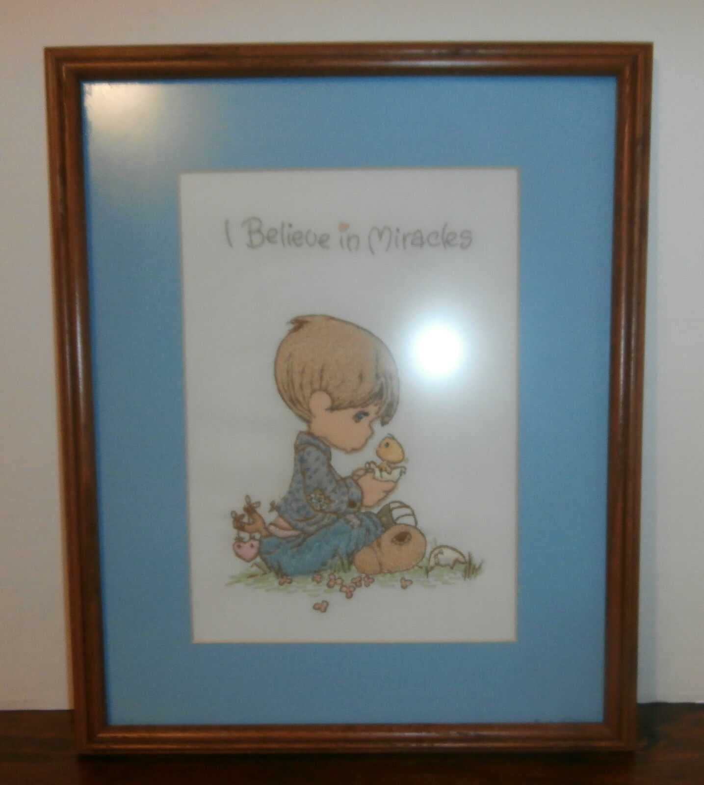 "Primary image for I Believe in Miracles Finished Framed Embroidery 12"" x 15"" Precious Moments"