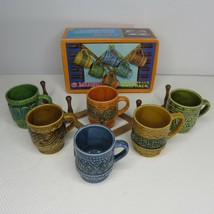 Vintage 70s Stoneware Coffee Mugs Wooden Expansion Wall Rack Made In Japan - $36.10