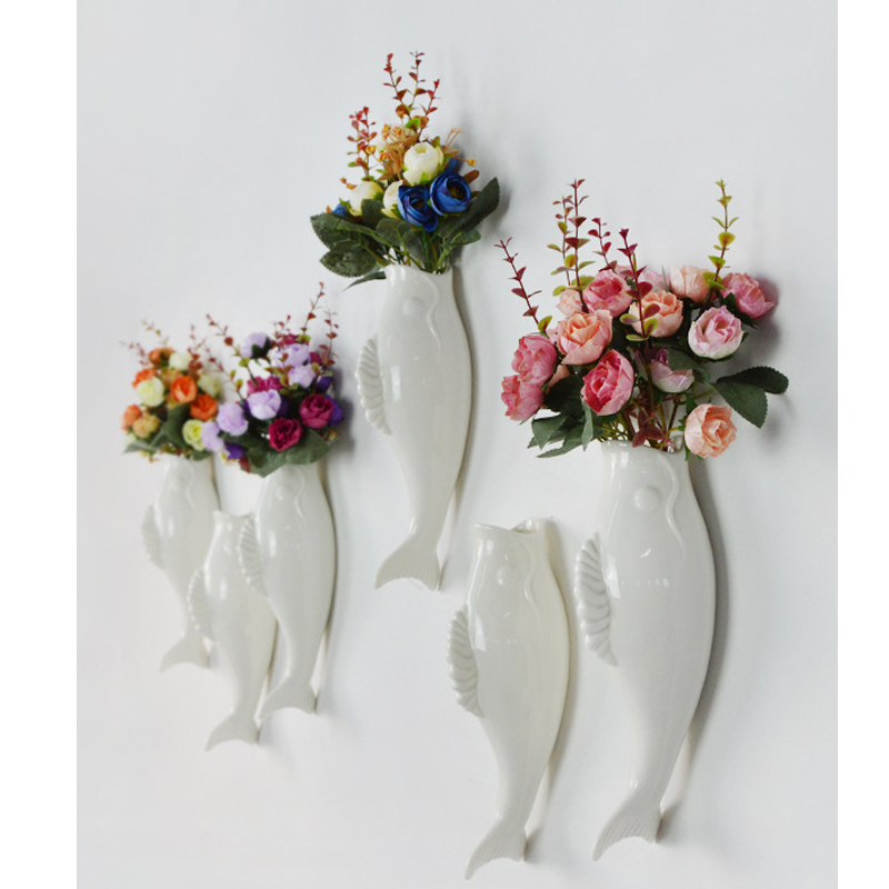 Interior Wall Hung Decorative Fish Shape Vase with Artificial Flowers Home Bar image 2
