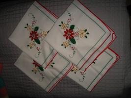 Christmas Table Napkins - Vintage White Cotton Linen Red Poinsettia Xmas... - $39.59