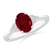 1.5ct Solitaire Oval Garnet Ring with Trio Diamond Accents Gold/Platinum - $792.92+