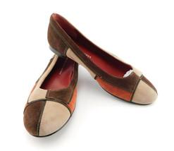 MARC JACOBS Size 8 Color Block Suede Ballet Flats Shoe w/ Zipper Detail 38.5 Eur - $49.00