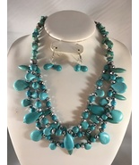 Chunky Faux Turquoise Three Layered Necklace Set With Glass Beads - $39.99