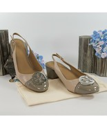 Tory Burch Minnie Light Taupe Gray Heron Leather Cap Toe 55mm Heels Sz 1... - $182.66