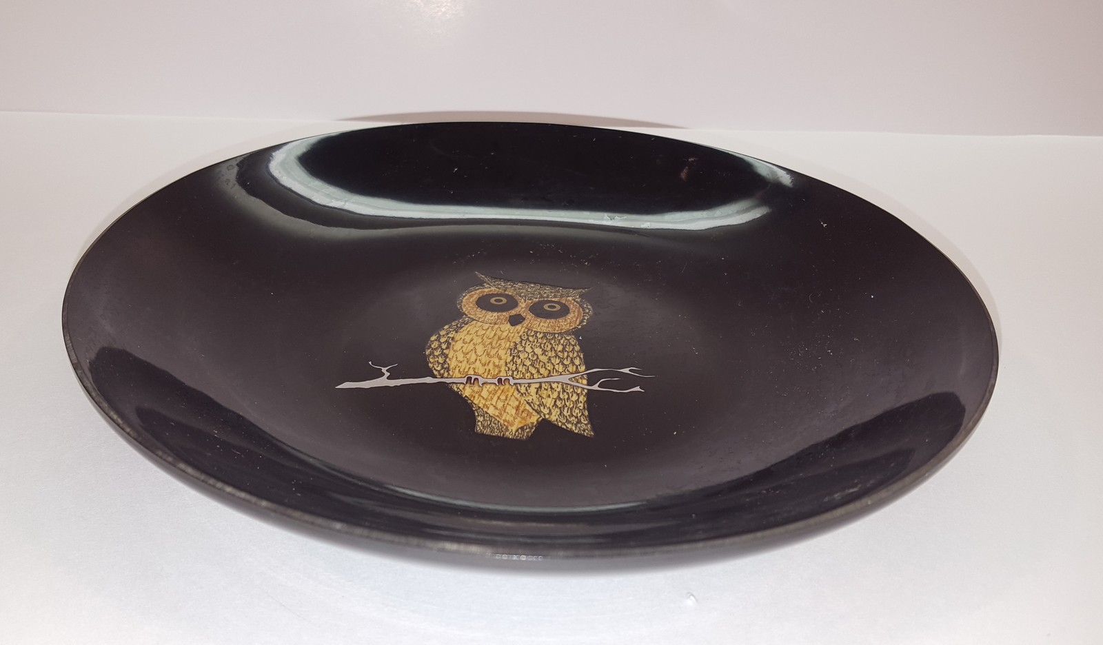 1970s COUROC Dish Black with Owl