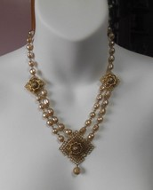 Vintage Gold-tone Baroque Pearl Filigree Necklace Unsigned - $183.15