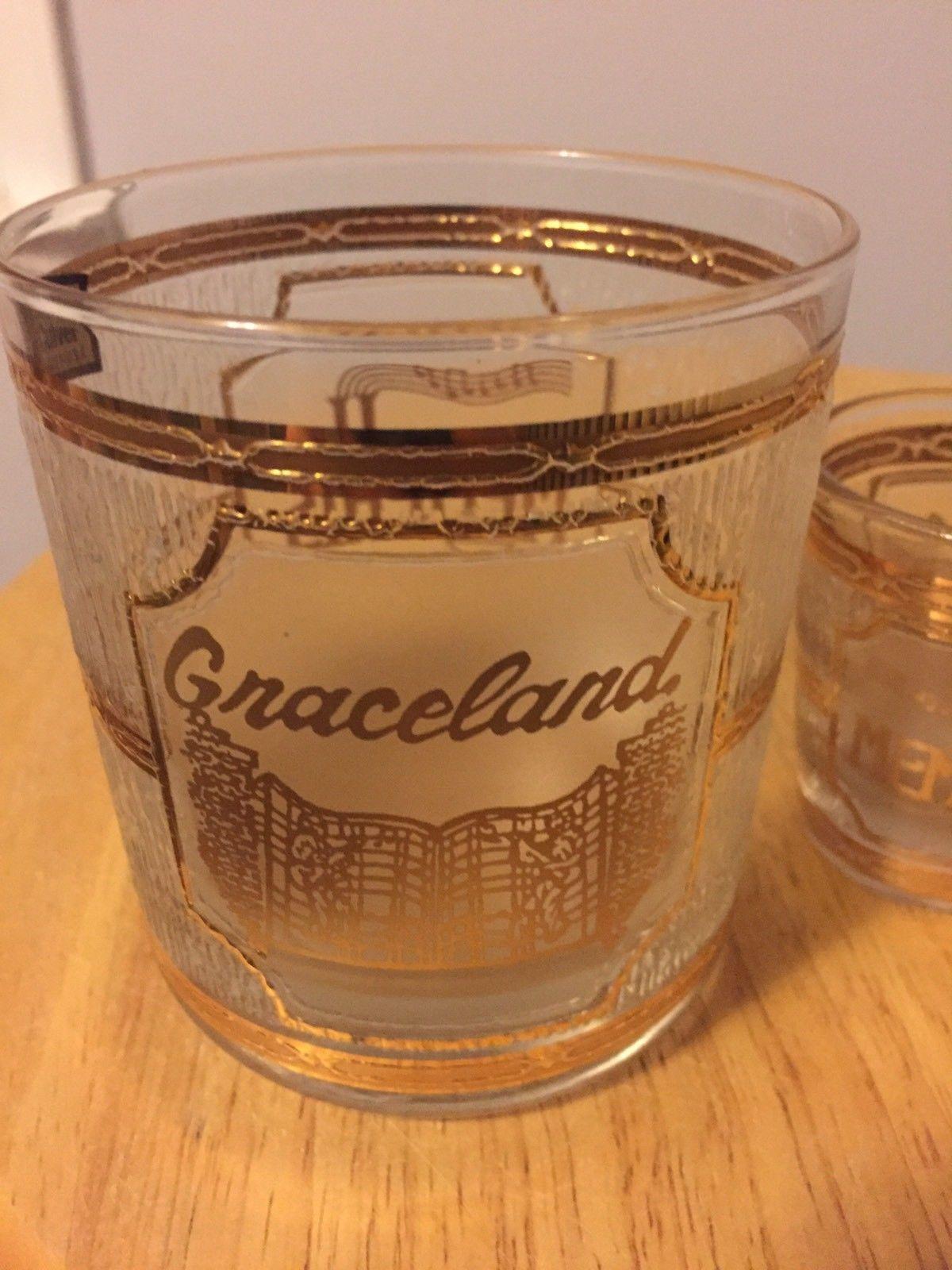 Culver Shot Glass and glass set Graceland 22K Gold & Frosted Vintage - Culver