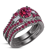 14k Black Rhodium Plated 925 Silver Engagement Ring Set Round Cut Pink S... - $106.99