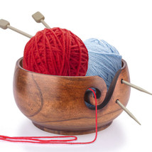 Eco Handmade Wooden Yarn Ball Storage Bowl for Knitting Line Crochet Acc... - $14.99