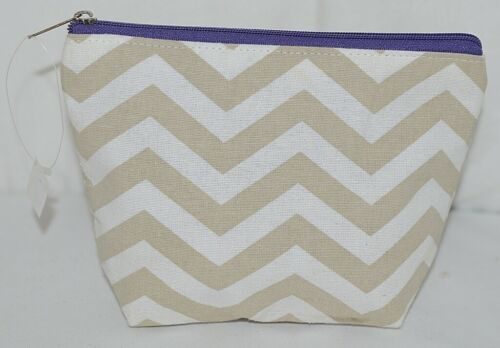Ganz Brand ER39002 Chevron Design Beige Tan Purple Zipper Makeup Bag