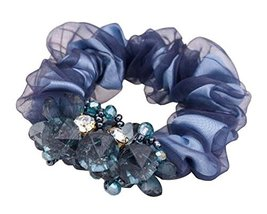 Sweet Elegant Scrunchie Elastics Ponytail Holder Hair Rope Navy - $12.14