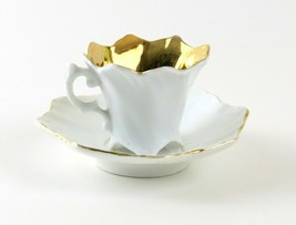 Vintage Porcelain Demitasse Cup and Saucer, White with Gold Inside & Gold Trim  - $16.82