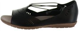 Earth Leather Perforated Slip-on Sandals Camellia Nauset Black 7.5W NEW ... - $87.10