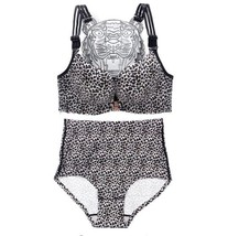 Plus Size Sexy Silver Leopard Bra Set Front Buckle Big Size Women's Inti... - $52.49