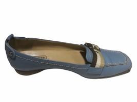 Coach Women LT Blue Pebble Grain Leather Buckle Strap Moccasin Loafer - Size 6 B - $49.49