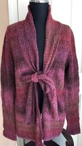 Christopher & Banks Purple Red & Brown Long Sleeve Sweater W/ Tie Women's M - $14.84