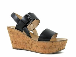 NWOB MARK FISHER MORALIE BLACK LEATHER OPEN TOE WEDGE BUCKLE SHOES SIZE 9 M - $28.71