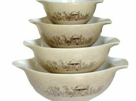 PYREX Forest Fancies Mushroom Cinderella Nesting Mixing Bowls Set of 4 - $98.99