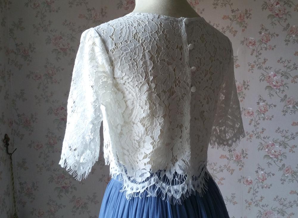 White lace top vneck 8