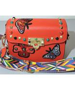 Red Split Leather Floral Rivet Shoulder Fashion Bag Rivet Flower Designe... - $29.65