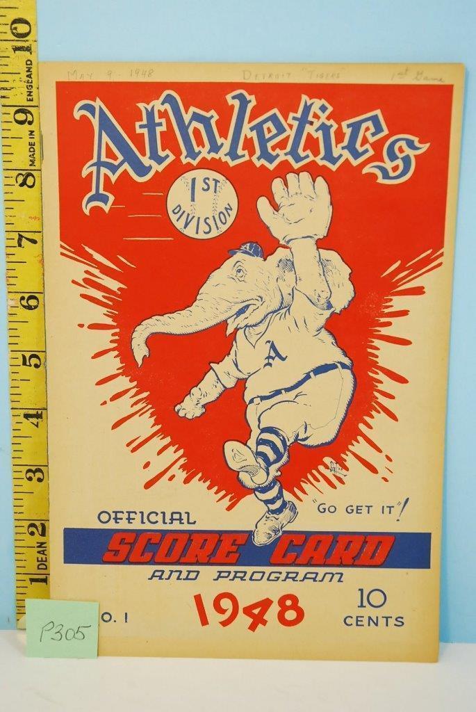 1948 Philadephia Athletics Baseball Scorecard v Tigers May 9 Scored - $44.55